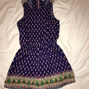 Multi colored romper with open back